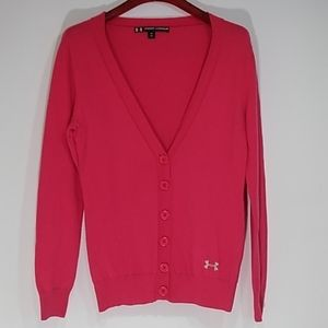 Under armour wool blend hot pink cardigan Large